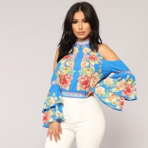 Tops - Floral Print Blue Ruffle Sleeve Blouse Top Stretch